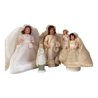 Set of French communion dolls and candy containers
