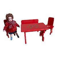 Sweet French SFBJ lilliputian with his set of red wooden furniture