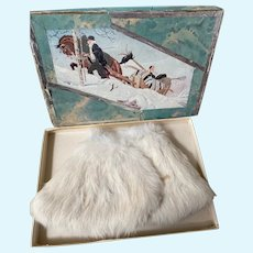 Perfect antique white rabbit fur doll cape!