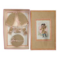 Lovely 4-Piece French antique woolen set for all bisque in size 3 in beautiful presentation box