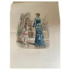Rare set of French fashion prints from Paris charmant : journal illustré des modes parisiennes April 1881 & Mai 1881