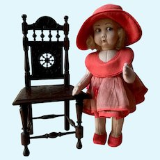 Old French Miniature Brittany wooden doll chair made in Finistère