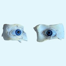 Antique pair of blue doll glass eyes