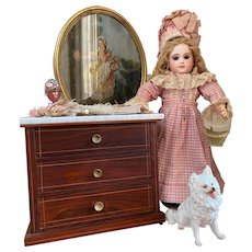 Cute antique mahogany doll chest of drawers with marble top!