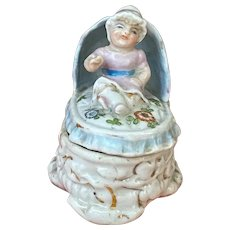 Lovely 1900 porcelain baby trinket box for hair or baby teeth!