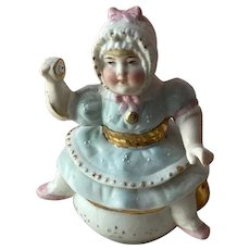 Endearing 1900 German bisque baby trinket box for hair or baby teeth!