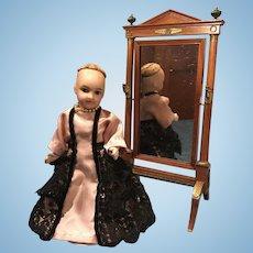 French small old SFBJ 301 mignonnette bisque and compo doll 5 inch