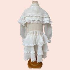 Lovely antique white organdi girl dress end of 19th century