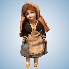French small old SFBJ 301 mignonnette bisque and compo folk doll 6 1/2inch