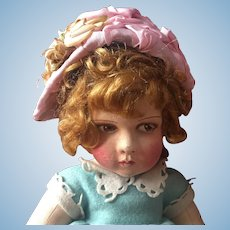 Old French pale pink doll hat