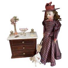 """Very nice antique porcelain """"Vieux Paris"""" fruit display doll size!"""