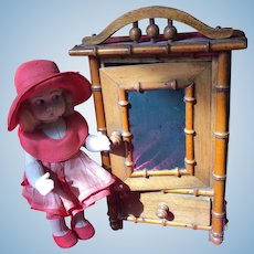 Antique French Faux Bamboo armoire doll size!