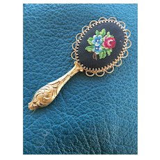 Cute vintage small pocket mirror with needle point for your dolls