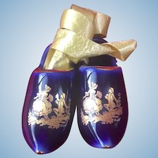Pair of French old miniature porcelain Limoges  blue clogs- Doll size!