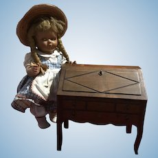 Old French Normandy doll wooden drop-leaf writing desk