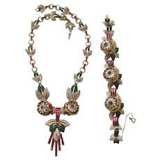 Rare Coro 'Adolph Katz'  Red Quivering Camelia Necklace/Bracelet