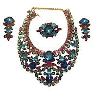 DiMartino Originals Vibrant Bermuda Blue & Pink Bib Necklace Parure