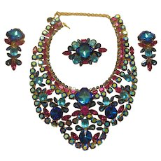 DiMartino Originals Vibrant Bermuda Blue & Pink Bib Necklace Parure