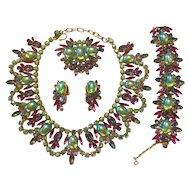 DiMartino Originals Stunning Green Flourescent Cabachon  Grand Parure