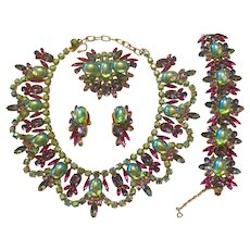 DiMartino Originals Stunning Green Flourescent Cabachon  Grand Parure