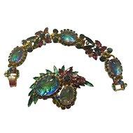 Juliana Purple/Teal Oval Engraved Art Glass Leaf Bracelet/Brooch