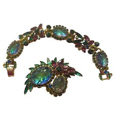 Juliana Purple/Teal Oval Engraved Art Glass Leaf Bracelet/Brooch