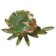 Juliana Apple Green Glass and Rhinestone Brooch/Earrings