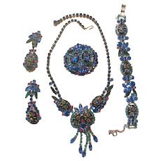 Juliana Blue/Pink Etched Flower Glass/Rhinestone Parure