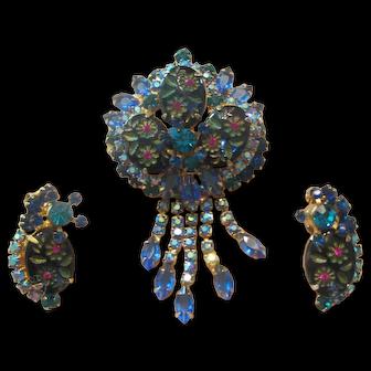 Juliana Blue/Teal Etched Flower Glass/Rhinestone Dangle Brooch/Earrings
