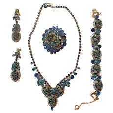 Juliana Blue/Teal Etched Flower Glass/Rhinestone Parure