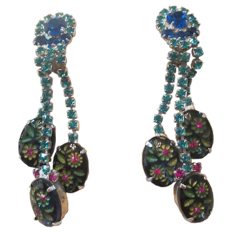 Rare Juliana Blue/Teal Etched Flower Glass/Rhinestone Dangle Earrings