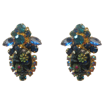 Juliana Blue/Teal Etched Flower Glass/Rhinestone Large Earrings