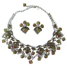 Bib Brown/Amber/AB Rhinestone & Poured Glass Givre Necklace/Earrings