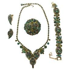 Juliana Two-Tone Green Etched Glass/Rhinestone Parure