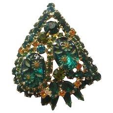 Juliana Two-Tone Green Etched Flower Glass/Rhinestone Dramatic Brooch