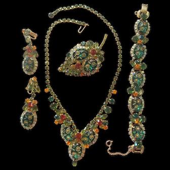 Juliana Green/Orange Etched Flower Glass/Rhinestone Parure