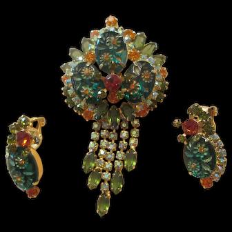 Juliana Green/Orange Etched Flower Glass/Rhinestone Dangle Brooch/Earrings