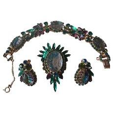 Juliana Green/Purple Moulded Glass Bracelet, Brooch & Earrings