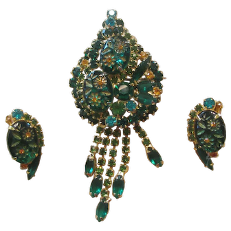 Juliana Two-Tone Green Etched Glass/Rhinestone Dangle Brooch/Earrings