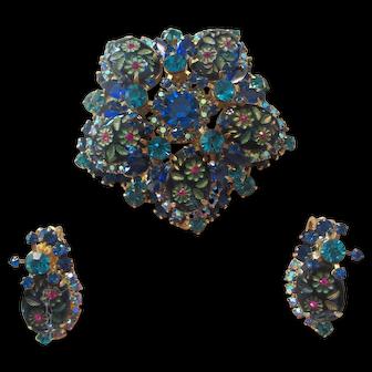 Large Juliana Blue/Teal Etched Glass/Rhinestone Brooch Earrings