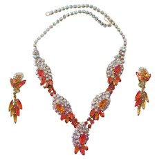 Juliana Orange/Topaz/AB Rhinestone Parure