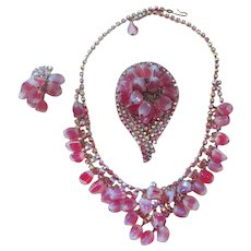 Pink Dotted Glass Bead Parure