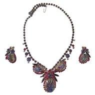 Juliana Purple/Fuschia Rhinestone & Etched Glass Parure