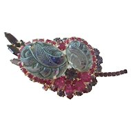 Juliana Purple/Fuschia Etched Glass Brooch