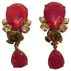 Rare Juliana Flawed Ruby, Gold-Tone Rose, Rhinestone & Pearl Dangle Earrings