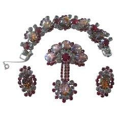 Juliana Red Cats Eye Cabachon Bracelet, Brooch & Earrings