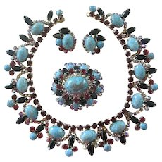 Large Juliana Red & Black Rhinestone with Turquoise Blue Cabachon Parure