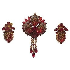 Juliana Siam Red Etched Flower Brooch & Earrings