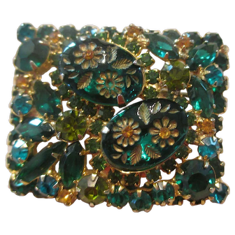 Unique Square Shaped Juliana Two-Tone Green Etched Flower Glass/Rhinestone Brooch