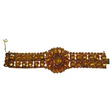 Large Amber Colored Rhinestone Bracelet